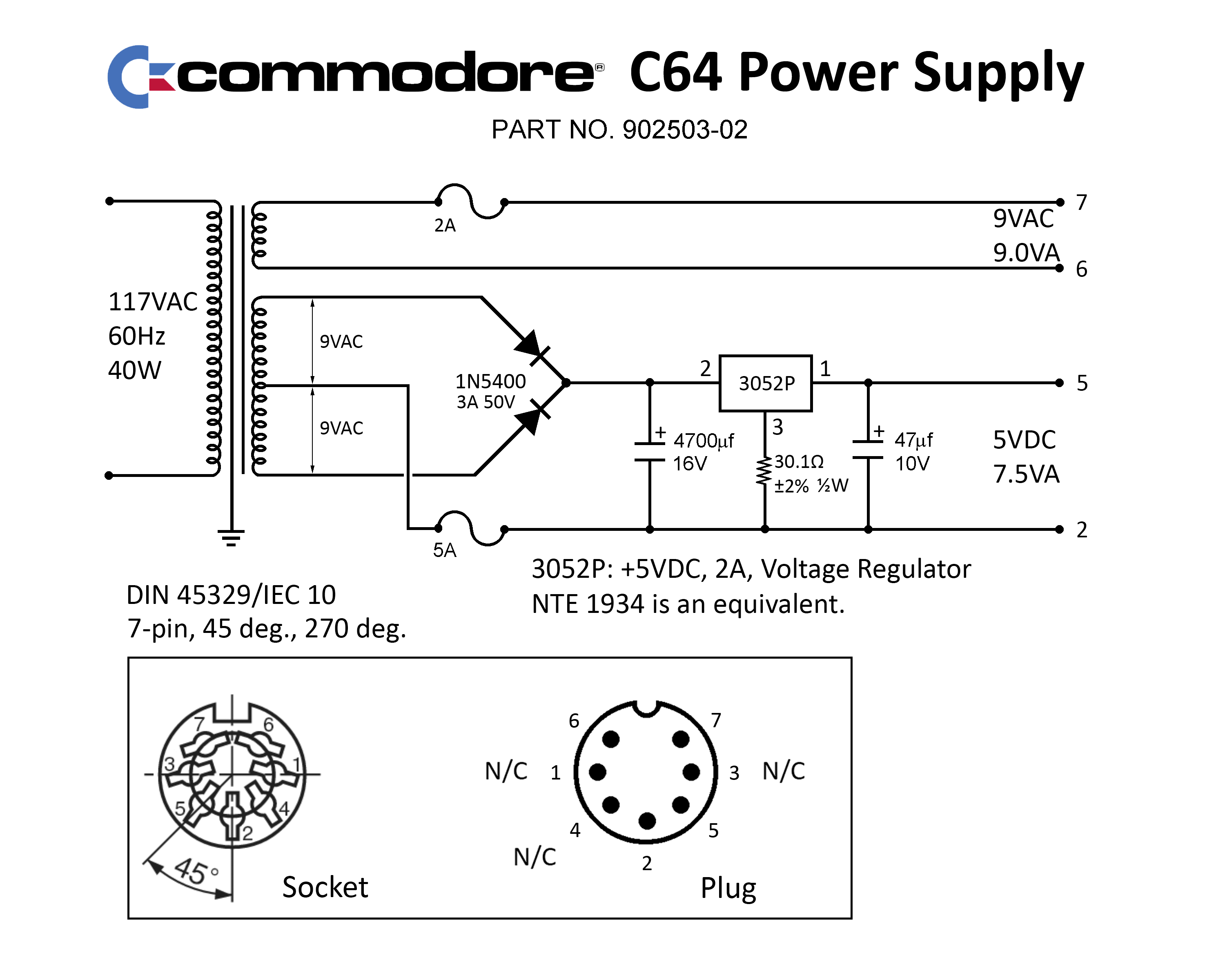 Pin Out For Commodore 64 Power Supply Pins 67 With No Volts 9vdc Transformer Psu Verify This By Setting Your Dmm To Ac And Measure Between 6 7 There Is A Fuse In Line Btw So Be Careful Not